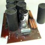 Leaked electrolyte in a bad SB-200 board, courtesy of Doug Crompton (WA3DSB)